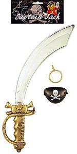 3 Piece Pirate Costume Set - Sword Cutlass Eyepatch Earring Fancy Dress Children