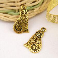 8Pcs Tibetan Silver,Gold,Bronze Cat Charms Pendants Double-sided M1184