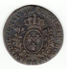 Louis XV, 1759 D silver 1/10 ecu au bandeau