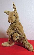 "Vintage Sawdust Stuffed Real Fur Kangaroo Wallaby Baby Joey Toy 11"""