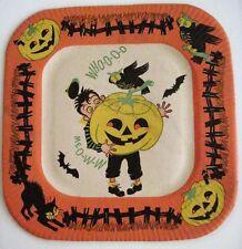 Festive Vintage Halloween Paper Plate w/ Owl, Pumpkin, Cat and Bats *