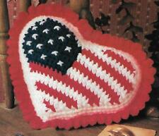 "*""I LOVE AMERICA"" Heart/Flag Pillow crochet PATTERN INSTRUCTIONS"