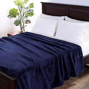 Berkshire Luxe Plush King Size Blanket Color Blue NIP