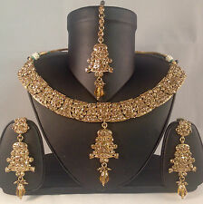 Gold Indian bride party bollywood style Necklace Earring & Tikka set SV14-0031