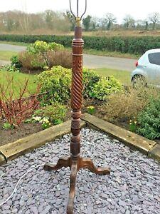 Impressive Antique / Vintage Carved Wooden Standard Lamp. Shade. Barley Twist.