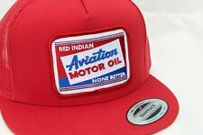 RED Indian Aviation Motor Oil RED Mesh Cap TRUCKER HAT Embroidered Patch CESSNA
