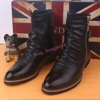 British Style Men's Side Zipper Pointed Toe Motor High Top Punk Ankle Boots