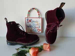 Rare Dr Martens boots 1460 velvet burgundy cherry red  8 eye UK 6 EU 39 US 8
