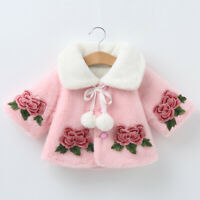 Infant Baby Girls Warm Rose Floral Thicken Coat Winter Outwear Jacket Clothes
