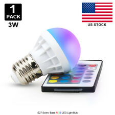 US 3W E27 LED RGB Light Bulb 16 Color Changing Magic Lamp + Remote Control