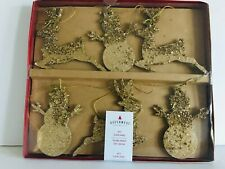 Queenwest Trading Co Gold Deer Snowman 6 Foot Garland Sparkling NEW