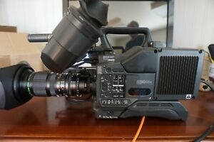 Sony DXC-D35 SD video camera with viewfinder, power supply, lens, and microphone