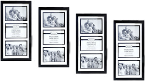 """4x6 Photo Black 3-Picture Collage Frame 4 Pack Glass Pane Wall Mount 15""""x8"""""""