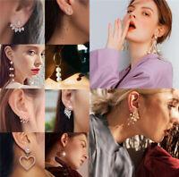 Elegant Women Lady Earrings Crystal Ear Stud Dangle Drop Pearl Jewelry Gifts