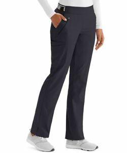 "Grey's Anatomy #515 Elastic Flat Front Logo Waist Scrub Pant in ""Steel"" Size 2XL"