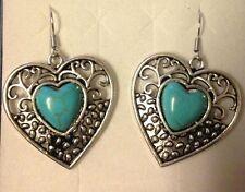 Filigree Silver Dangle Earring Royal Bali Turquoise Heart