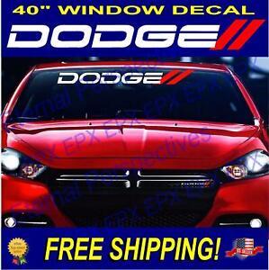 DODGE STRIPES Vehicle Windshield Sticker Logo Vinyl Decals White Red