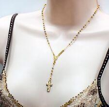 14k Multi Tone Gold Rosary Rosario DE LA TERRA SANTA JERUSALEN 3mm Bead 17 Inch
