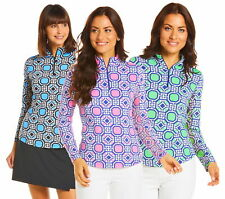 IBKUL Womens Classic Key Print Long Sleeve Mock Neck  10646 - New 2020