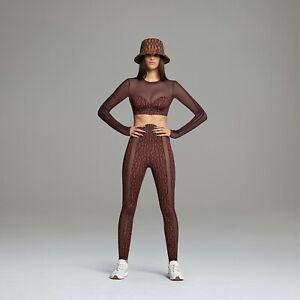 IVY PARK Adidas Icy Park Night Red/Wild Brown Sheer Monogram Leggings & Crop Top