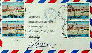 BOLIVIA 1983 4v MONUMENT ON REGD AIRMAIL COVER FROM ORURO TO HAMBURG GERMANY