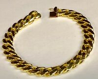 "14k Solid Yellow Gold Handmade Curb Link Mens Bracelet 8"" 67 grams 10.75MM"
