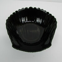 Arcoroc France Sea Shell Clam Shaped Black Glass Large Bowl 6""