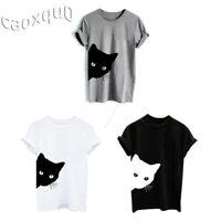 Cat Print Summer Sleeve Hipster Cotton Tops Women Short Blouse Shirts T-shirt