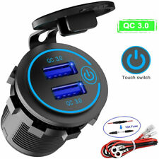 Car Charger Socket QC 3.0 Dual USB Port Fast Charging Outlet for Car Truck Boat