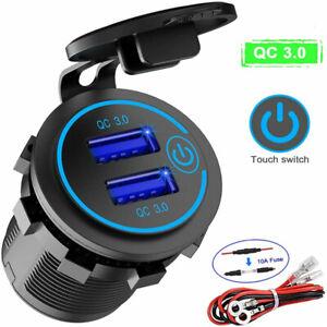 QC 3.0 Dual USB Car Charger adapter 2 Port LCD Display 12-24V Cigarette Socket