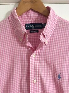 MENS RALPH LAUREN POLO PINK CHECKED SHIRT - SIZE SMALL