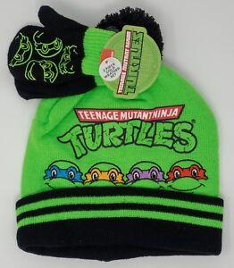 Ninja Turtles Knit Beanie  Hat & Gloves Set Toddler NWT