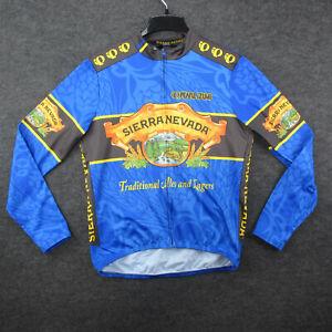 Sierra Nevada Cycling Jersey Mens Size L Blue Long Sleeve 3 Bottle Pocket USA