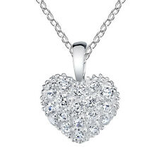 """Minxwinx Pave Heart Necklace all simulated Diamond look bling with 18"""" Chain"""
