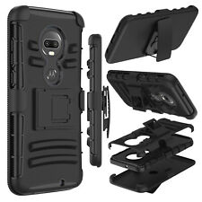 For Motorola Moto T-Mobile Revvlry+ / G7 /G7 Plus Rugged Clip Holster Case Cover