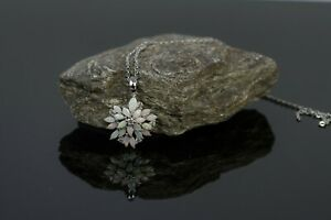 Genuine Australian Opal Necklace Pendant 18K White Gold Plated Sterling Silver