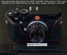 LUIGI BASIC PLUS CASE+GRIP+DLX STRAP+UPS,to LEICA MP240/M240,MMII,BLACK+RED STIT
