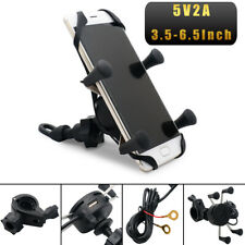 MASO Motorcycle Bike Car Mount Cellphone Holder USB Charger For Phone Below 6.5'
