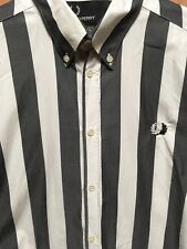Fred Perry The Specials Shirt petit homme gris blanc à rayures RARE Ska