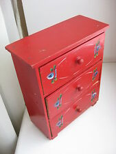 VINTAGE Swedish Hand made, painted  MINIATURE SOLID PINE WOOD CHEST OF DRAWERS