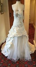 STRAPLESS IVORY TAFFETA WEDDING DRESS WITH SPARKLE TULLE SKIRT - SIZE 12