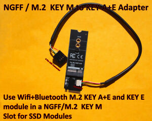 Adapter Converter NGFF M.2 KEY M to KEY A+E KEY E for Wifi+Bluetooth Module