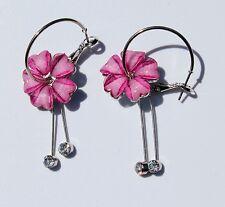 Earring Sparkle Heart Plumeria Flower Dangle Hawaii Luau CZ Long Drop Pink