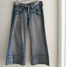 Hippie Flared Distressed Ankle Crop Jeans Women's Size 27 Med Wash