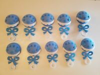 10 Baby Shower Blue Foam Rattles Party Decorations its a Boy Favors Prizes Gifts