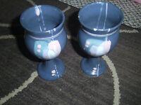 Pottery Wine Goblets Drip or Splatter Glaze Blue & Pink Unique Estate sale