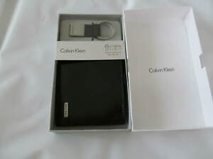 NWB Calvin Klein Black Leather Passcase Wallet and Key Fob Set $45