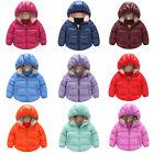 2-7Y Winter Kids Boys Girls Warm Down Snowsuit Hooded Warm Coat Jacket Outwear