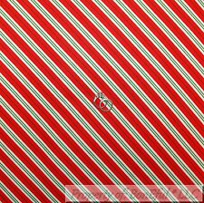 BonEful Fabric FQ Cotton Quilt Red White Green Stripe Candy Cane Xmas US Holiday