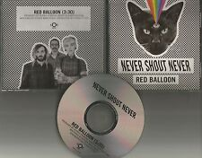 NEVER SHOUT NEVER Red Balloon 2015 PROMO DJ CD Single USA MINT w/ TOUR DATES